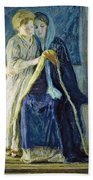 Christ And His Mother Studying The Scriptures Beach Towel