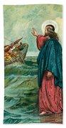 Christ Walking On The Sea Beach Towel