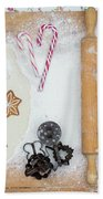 Christmas Interior With Sweets And Vintage Kitchen Tools Beach Towel
