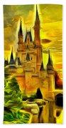 Cinderella Castle - Van Gogh Style Beach Towel