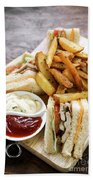 Classic Club Sandwich With Fries On Wooden Board Beach Towel