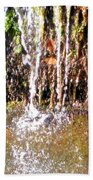 Close Up Of Waterfall Flowing Over Rocks  Beach Towel