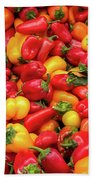Close Up View Of Small Bell Peppers Of Various Colors Beach Sheet