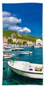 Coastal Town Of Hvar Waterfront Panorama Beach Towel