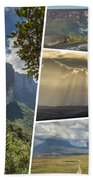 Collage Of Table Mountain Roraima Beach Towel