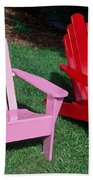 colorful Adirondack chairs Beach Towel