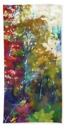 Colorful Autumn Trees In Forest Beach Towel