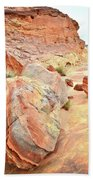 Colorful Boulders In Wash 3 In Valley Of Fire Beach Towel