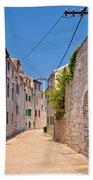 Colorful Mediterranean Stone Street Of Prvic Island Beach Towel