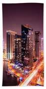 Colorful Night Dubai Marina Skyline, Dubai, United Arab Emirates Beach Sheet