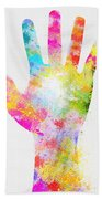 Colorful Painting Of Hand Beach Towel