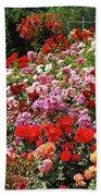 Colorful Spring Rose Garden Beach Sheet