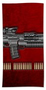 Colt  M 4 A 1  S O P M O D Carbine With 5.56 N A T O Rounds On Red Velvet  Beach Towel
