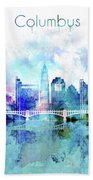 Columbus  Watercolor Skyline Beach Towel