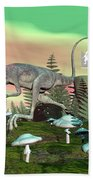 Compsognathus Dinosaur - 3d Render Beach Towel