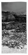 Courthouse Butte And Bell Rock Under Snow Beach Towel