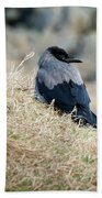 Crow In The Gras Beach Towel