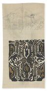 Decorative Design And Sketch Of The Front Tympanum Of The Royal Palace In Amsterdam, Carel Adolph Li Beach Towel