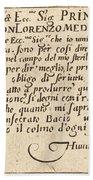 Dedication To Don Lorenzo De' Medici Beach Towel