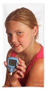 Diabetic Child With Blood Glucose Tester Beach Towel