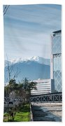 Downtown Street In Santiago De Chile City And Andes Mountains Beach Towel