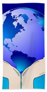 Earth In The Your Hands Beach Towel