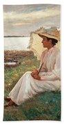 Elegant Lady By The Sea Beach Towel
