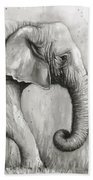 Elephant Watercolor Beach Towel