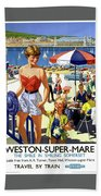 England Weston Super Mare Vintage Travel Poster Beach Sheet