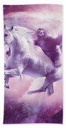 Epic Space Sloth Riding On Unicorn Beach Sheet