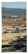 Excavators Working On Open Pit Coal Mine Beach Towel