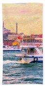 Ferry Traffic On The Bosphorus Beach Towel