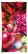 Festive Christmas Tree With Lights And Decorations Beach Towel