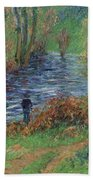 Fisher On The Bank Of The River Beach Towel