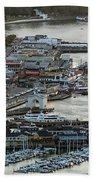 Fisherman's Wharf And Pier 39 Aerial Photo Beach Towel