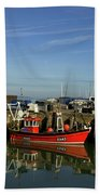 Fishing Boats At Whitstable Harbour 02 Beach Towel