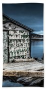 Fishing Shack And Wharf In Norris Point, Newfoundland Beach Towel