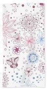 Floral Doodles Beach Towel