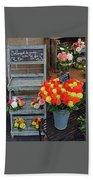 Flower Shop Display In Paris, France Beach Towel