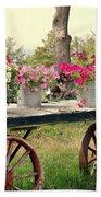 Flower Wagon Beach Towel