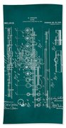 Flute Patent Drawing 2f Beach Towel