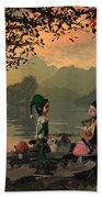 Forest Elves A Sunset Beach Towel