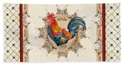 French Country Roosters Quartet Cream 2 Beach Towel