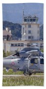 French Navy As565 Panther Helicopter Beach Towel