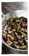 Fried Shiitake Mushrooms In Garlic Herb And Olive Oil Snack Beach Towel