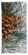 Frosty Pine Needles And Pine Cones Beach Towel