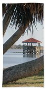 Gazebo Dock Framed By Leaning Palms Beach Towel