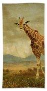 Giraffes In The Meadow Beach Sheet