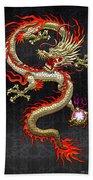 Golden Chinese Dragon Fucanglong  Beach Towel