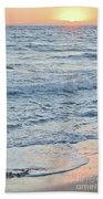 Golden Sunset And Ocean Horizon Beach Towel